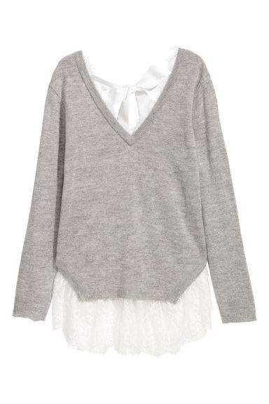 Jumper with lace trims - Light grey - Ladies | H&M CN