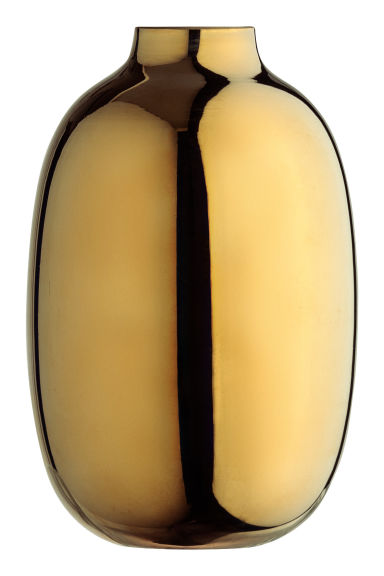 Small ceramic vase - Gold-coloured/Oval -  | H&M IE