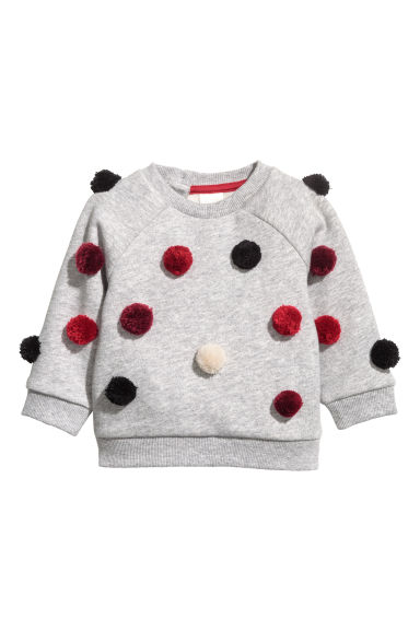 Sweat à pompons - Gris chiné - ENFANT | H&M FR