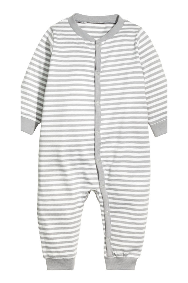 4ed0bb9c9aa0 ... 2-pack Jersey Jumpsuits - Grey White striped - Kids