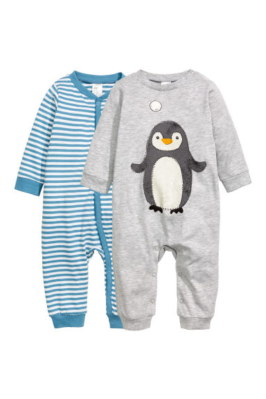 Lot de 2 pyjamas en jersey - Gris clair/pingouin -  | H&M BE