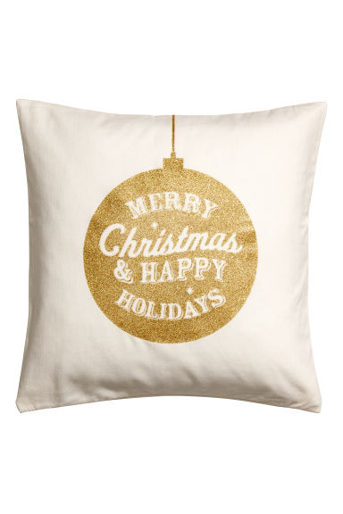 Christmas-print cushion cover - White/Gold-coloured - Home All | H&M CN