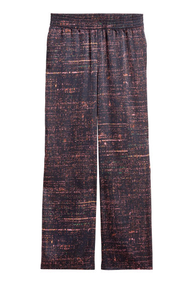 Wide satin trousers - Black/Patterned - Ladies | H&M CN