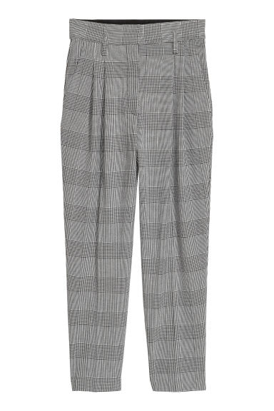 Patterned trousers - White/Dogtooth - Ladies | H&M CN
