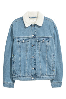 Pile-lined denim jacketModel
