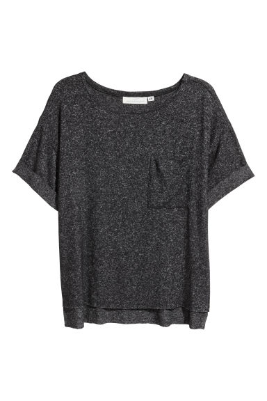 Fine-knit top - Dark grey marl - Ladies | H&M CN