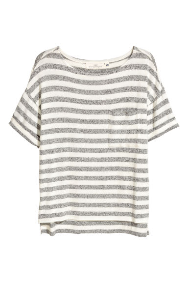 Fine-knit top - White/Grey striped -  | H&M