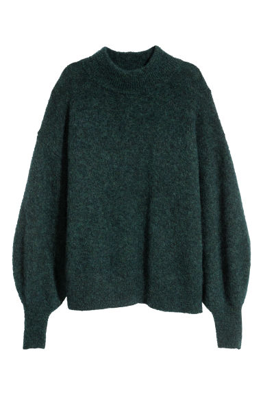 Mohair-blend jumper - Dark green marl - Ladies | H&M