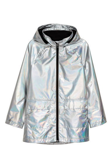 Rain coat with a hood - Silver - Kids | H&M CN