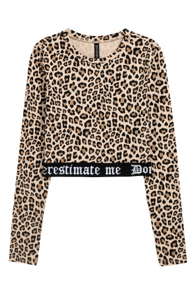 Cropped jersey top - Beige/Leopard print - Ladies | H&M