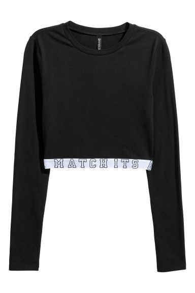 Cropped jersey top - Black -  | H&M IE