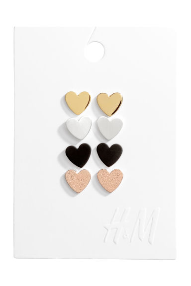 4 pairs stud earrings - Gold-coloured/Hearts - Ladies | H&M
