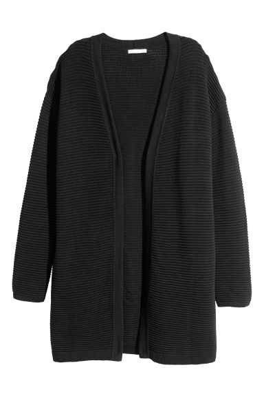 Textured-knit cardigan - Black -  | H&M