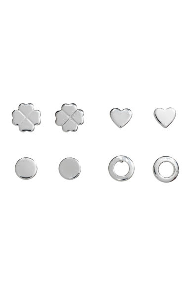 4 pairs stud earrings - Silver-coloured -  | H&M