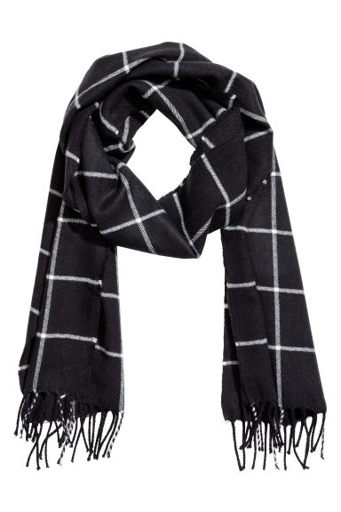Checked scarf - Dark blue/White checked - Men | H&M
