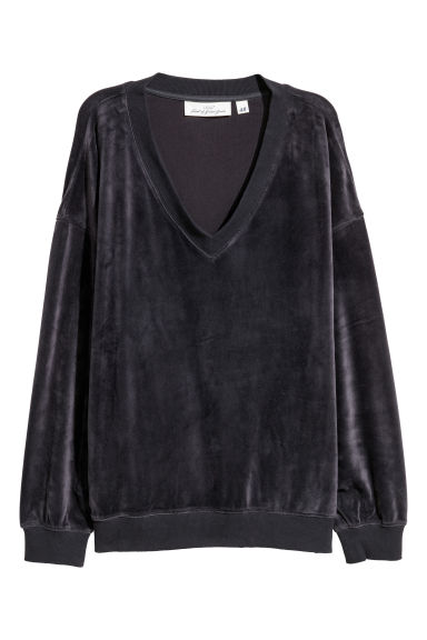 Velour sweatshirt - Dark grey -  | H&M GB