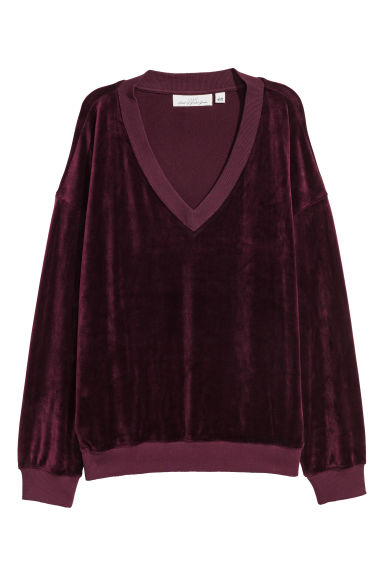 Velour sweatshirt - Plum -  | H&M