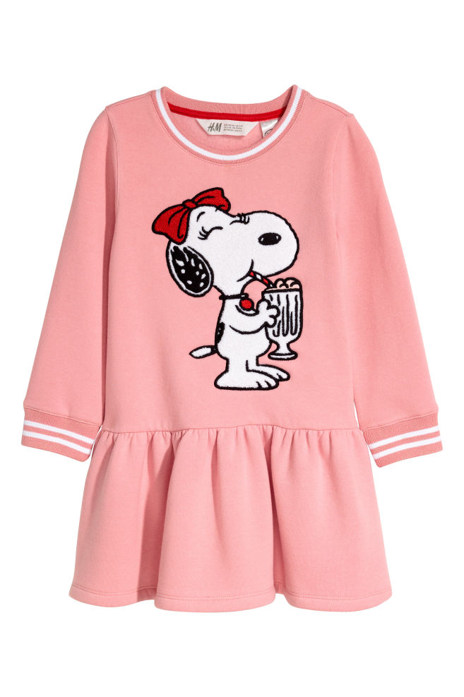 Sweatshirt dress with a motif - Pink/Snoopy - Kids | H&M CN