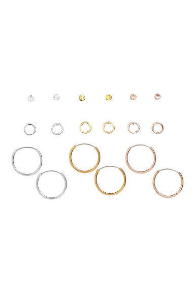 9 pairs earrings - Gold-/Silver-/Rose gold-colour -  | H&M IE