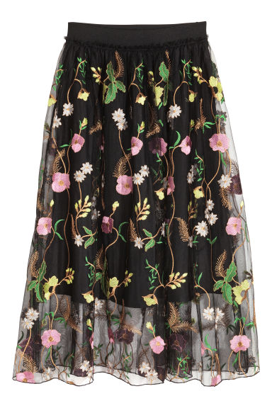 Mesh skirt with embroidery - Black/Floral - Ladies | H&M GB