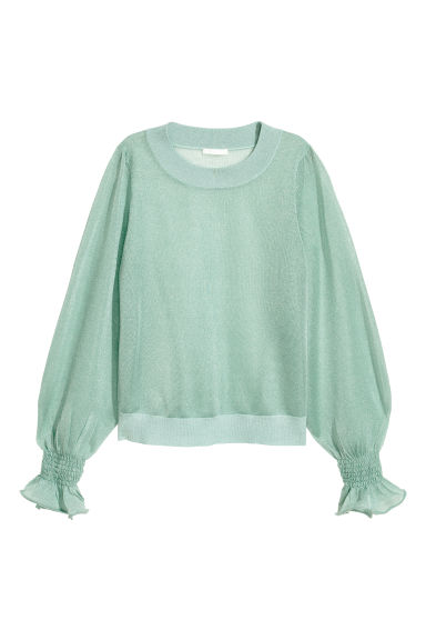Semi-transparent top - Mint green -  | H&M IE