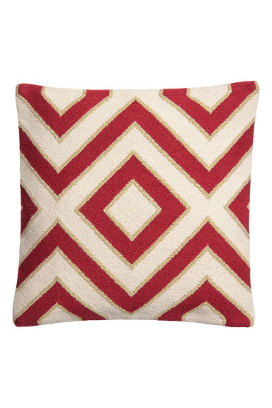 Jacquard-pattern cushion cover - Dark red/Zigzag patterned - Home All | H&M CN