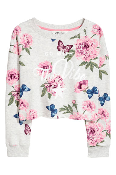 Printed sweatshirt - Grey marl/Flowers - Kids | H&M CN