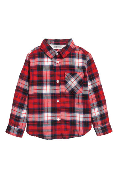 Flannel shirt - Red/Checked - Kids | H&M CN