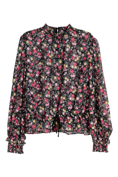 Chiffon blouse - Black/Floral - Ladies | H&M CN