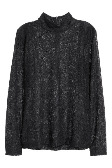 Polo-neck jumper - Black/Lace - Ladies | H&M