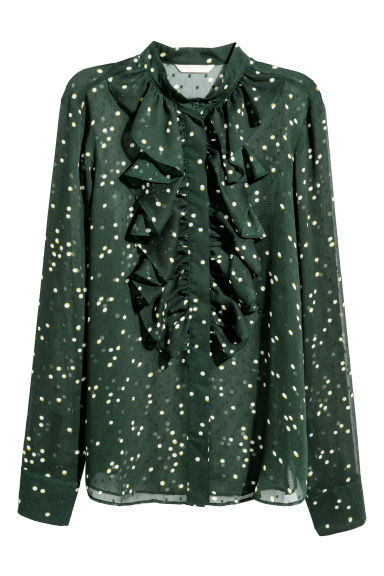 Plumeti blouse - Dark green/Spotted -  | H&M CN