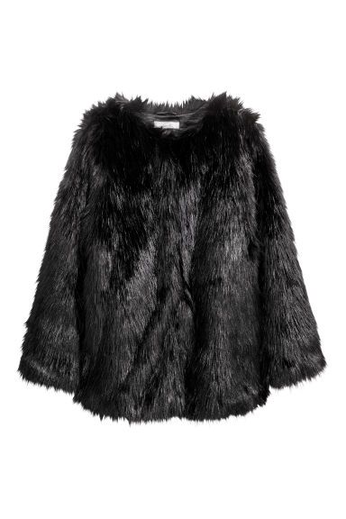 Faux fur jacket - Black - Ladies | H&M CN