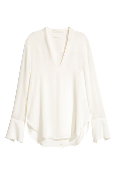 V-neck blouse - Natural white -  | H&M GB