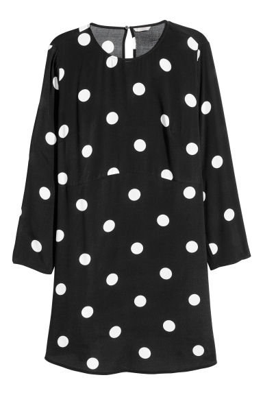 H&M+ Crêpe dress - Black/White spotted - Ladies | H&M