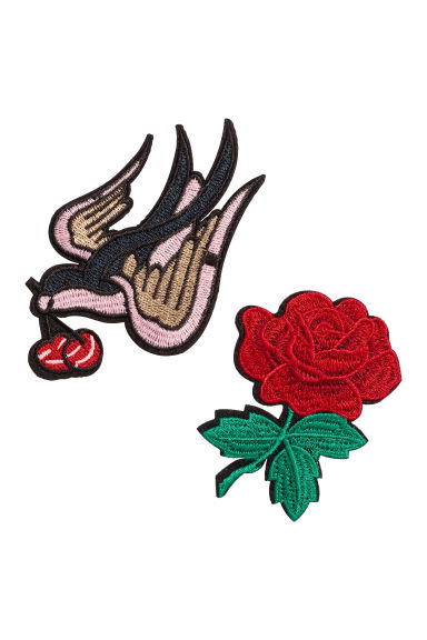 2-pack patches - Bird/Rose -  | H&M