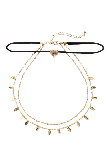 Three-strand necklace - Gold/Black -  | H&M
