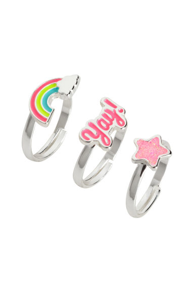 3-pack rings in a box - Silver-coloured/Pink - Kids | H&M CN