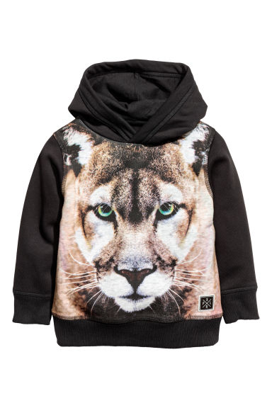 Printed hooded top - Black/Puma - Kids | H&M CN