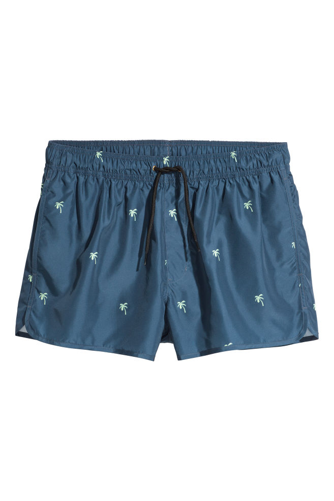 55dbd41aeec1 Short swim shorts - Dark blue/Palm trees - Men   H&M ...