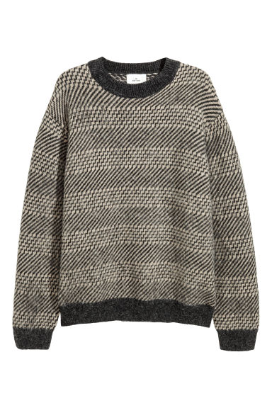 Jacquard-knit jumper - Dark grey/Beige - Men | H&M