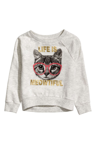 Sweatshirt with a motif - Light grey marl/Cat -  | H&M CN
