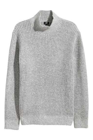 Knitted turtleneck jumper - Light grey marl - Men | H&M