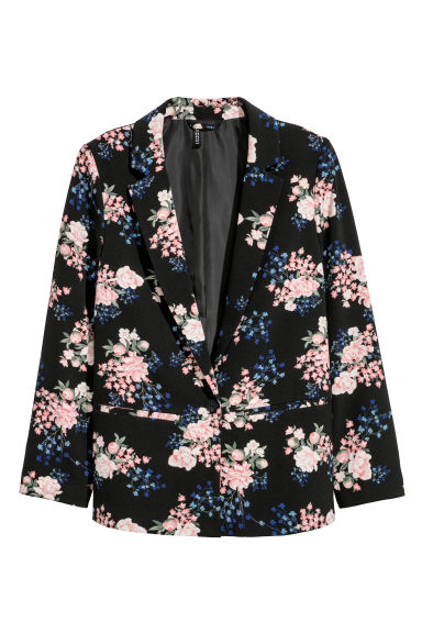 Patterned jacket - Black/Floral - Ladies | H&M CN