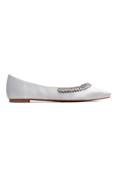 Embellished ballet pumps - Light grey -  | H&M