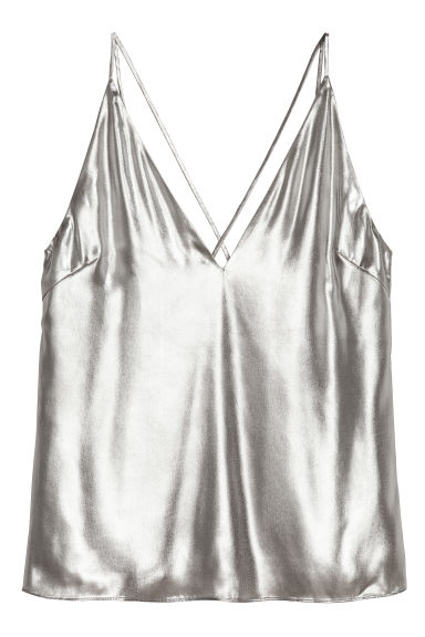 Shimmering metallic top - Silver-coloured - Ladies | H&M GB