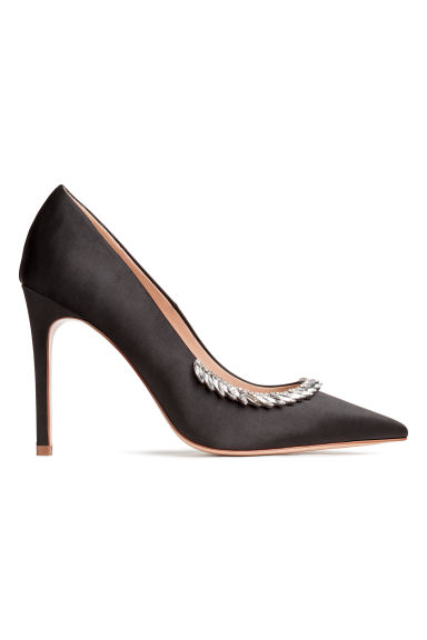 Embellished satin court shoes - Black - Ladies | H&M CN