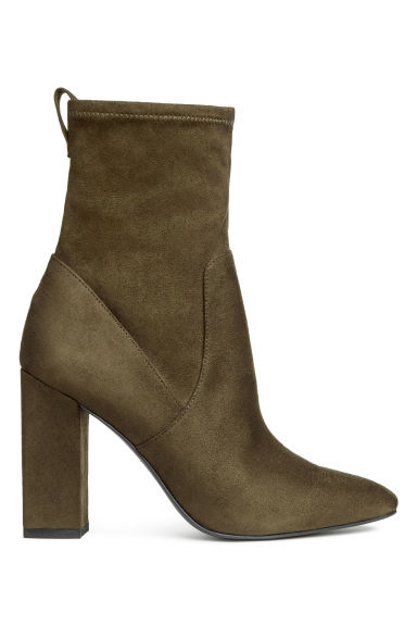 Block-heeled ankle boots - Khaki green - Ladies | H&M CN