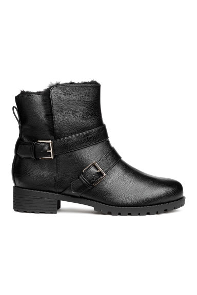 Lined biker boots - Black - Ladies | H&M