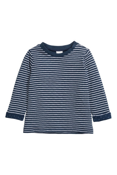 Long-sleeved cotton top - Dark blue/Striped - Kids | H&M CN