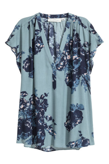 V-neck blouse - Turquoise/Patterned - Ladies | H&M CN